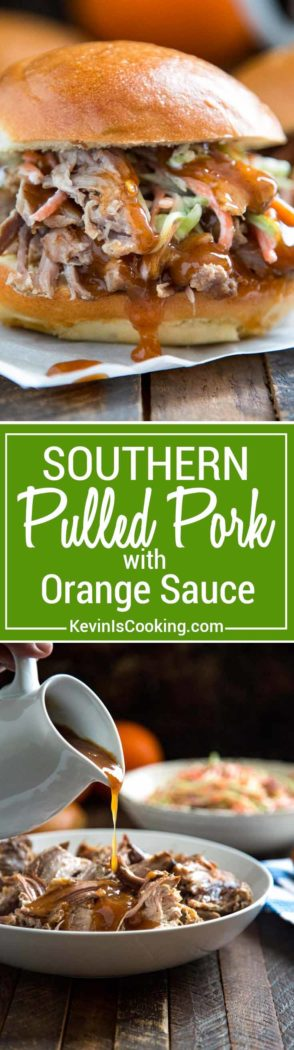 Southern Pulled Pork with Orange Sauce - marinated pulled pork served with an aromatic sauce made of orange juice, zest, cinnamon and cloves. Perfect with roasted vegetables or in a sandwich. This sauce is EVERYTHING.