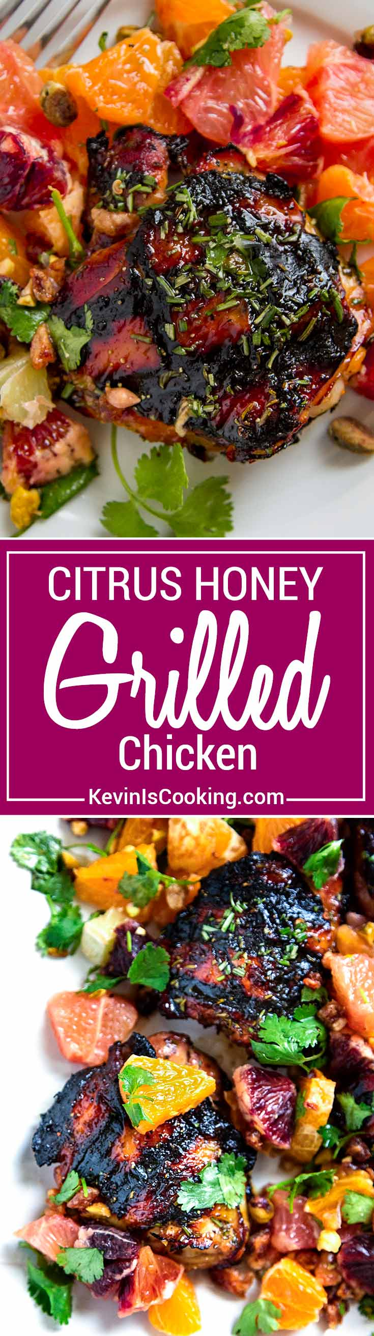 Citrus Honey Grilled Chicken has a orange juice, honey and rosemary marinade, is grilled then dressed with a pistachio, cilantro and citrus salad. So easy!