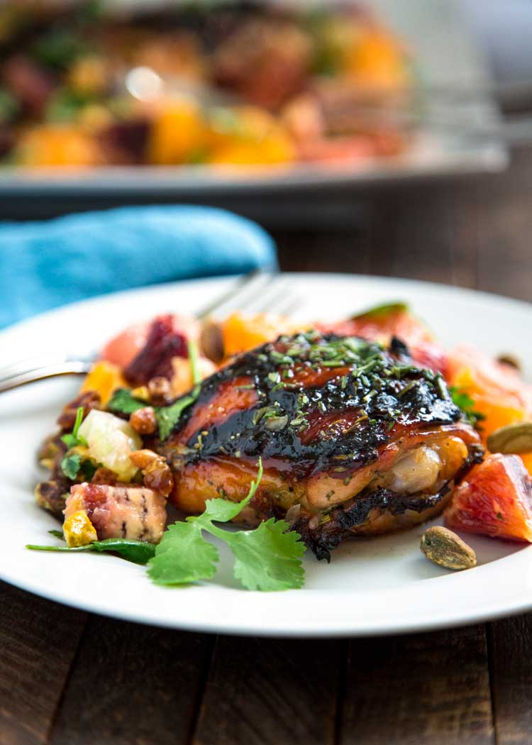 Citrus Honey Grilled Chicken has a orange juice, honey and rosemary marinade, is grilled then dressed with a pistachio, cilantro and citrus salad. So easy! keviniscooking.com