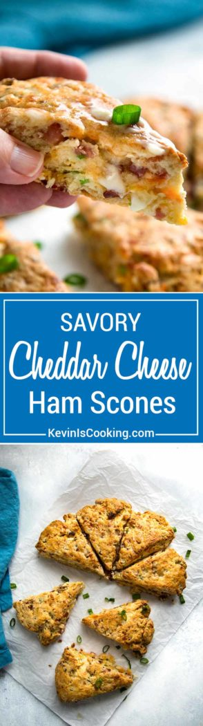Warm, tender and flakey, these Ham and Cheese Scones make the most of any leftover holiday ham in a good way. So good!