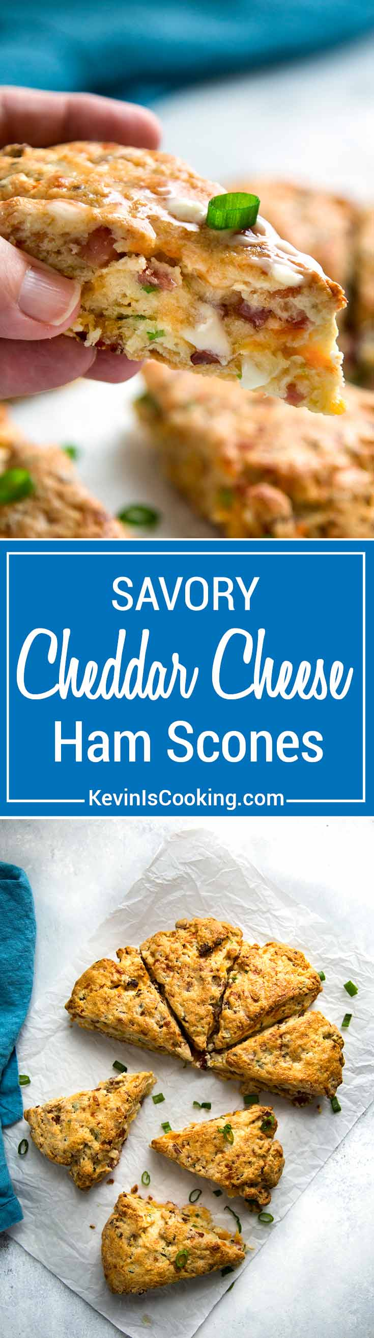 Warm, tender and flakey, these Ham and Cheese Scones make the most of any leftover holiday ham made with cheddar cheese and green onions for one savory scone!