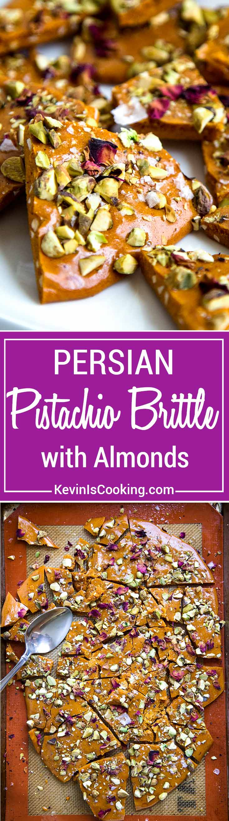 Persian Almond and Pistachio Brittle - Sweet and salty brittle with delicate Persian flavors like rose water, saffron, almonds and pistachios. So Good!