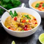 MyInstant Pot Tex Mex Chicken Corn Soup is loaded with on hand pantry items, shredded chicken, lots of corn, green chilis and warm spices to fill you up. keviniscooking.com