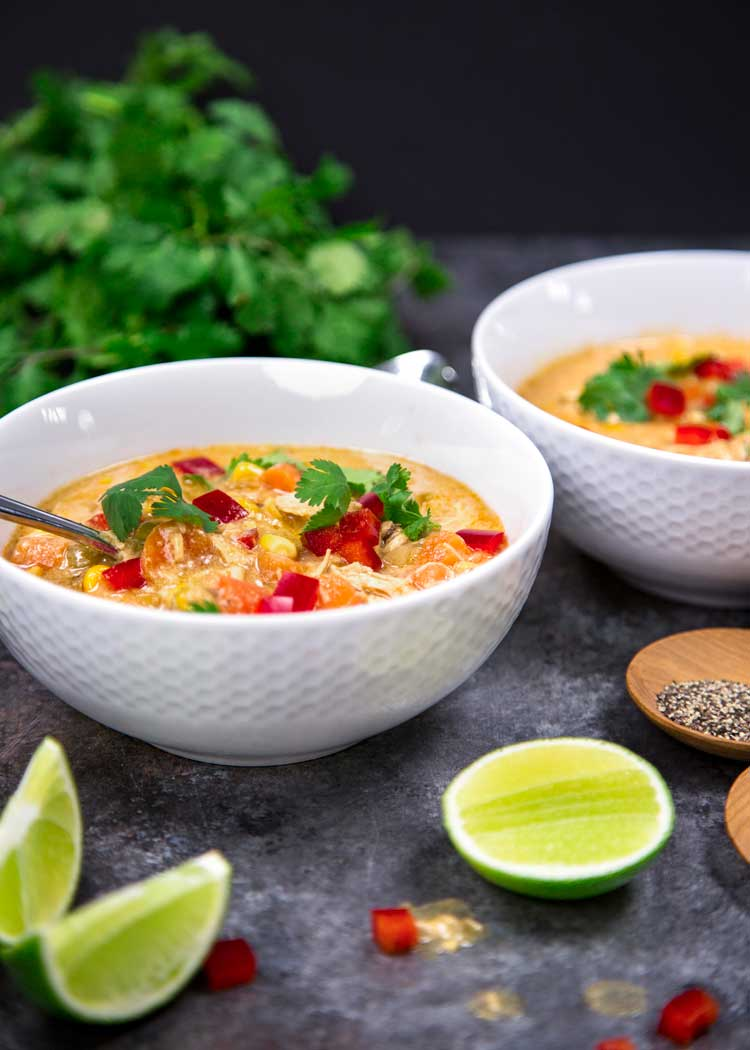 My Instant Pot Tex Mex Chicken Corn Soup is loaded with on hand pantry items, shredded chicken, lots of corn, green chilis and warm spices to fill you up. keviniscooking.com