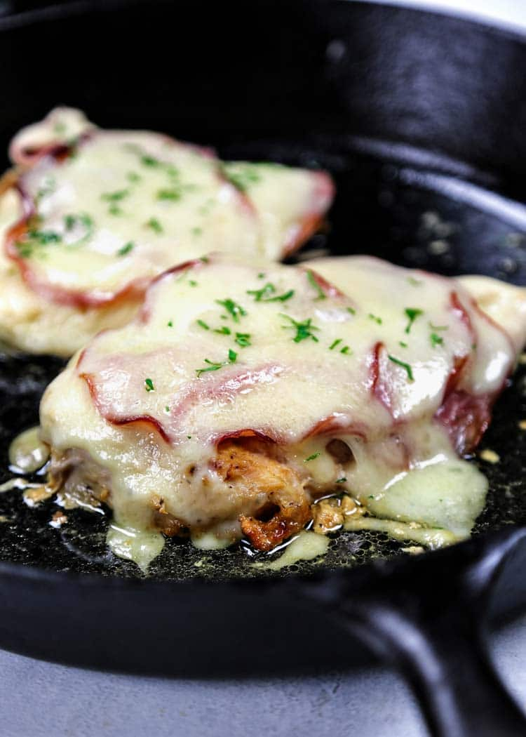 "I call this one pan Open Faced Chicken Cordon Bleu my ""skinny"" version of the classic. With ham, Swiss and dijon, it isn't breaded and fried, it gets baked! keviniscooking.com"
