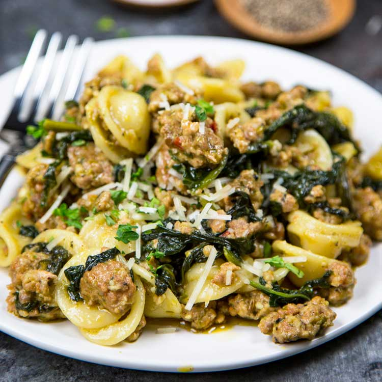 Orecchiette With Sausage And Spinach Keviniscooking Com
