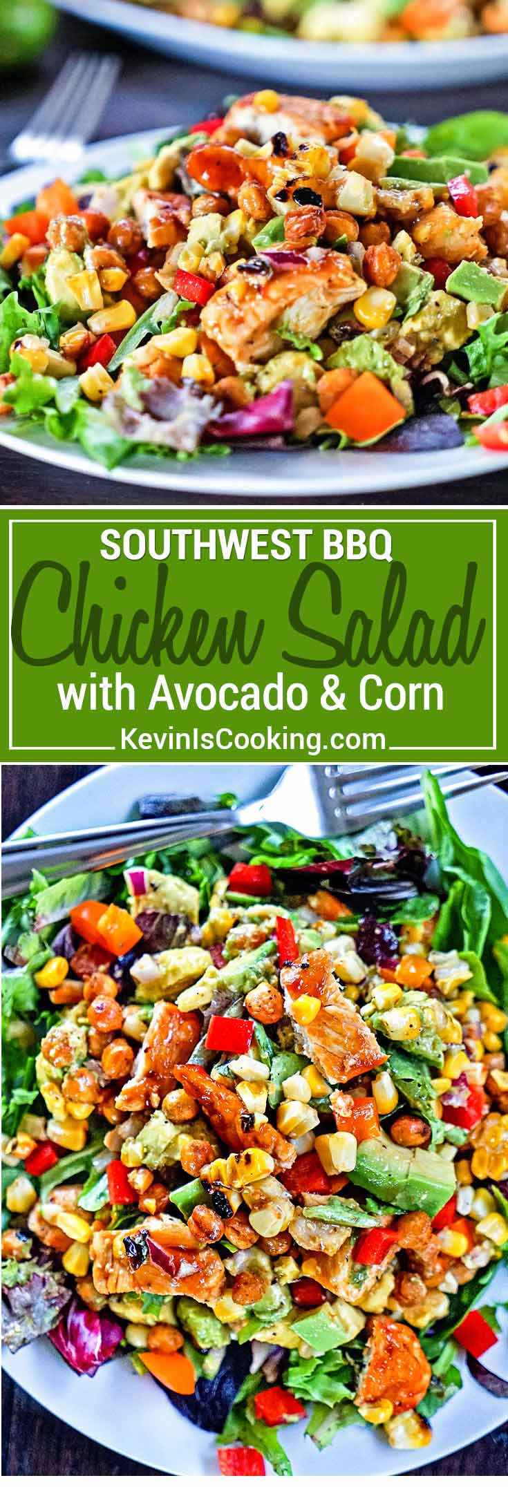 This Southwest BBQ Chicken Salad has it all from grilled corn & BBQ chicken, avocado, bell peppers and dried apricots. A lime and honey dressing makes it!
