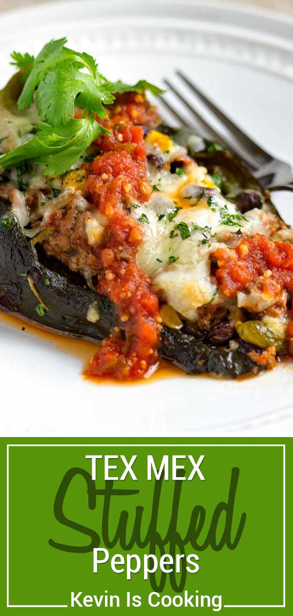 These Tex Mex Stuffed Peppers are filled with ground beef, black beans, corn, and pepper jack cheese! Smother with salsa and extra cheese, a crowd pleaser.