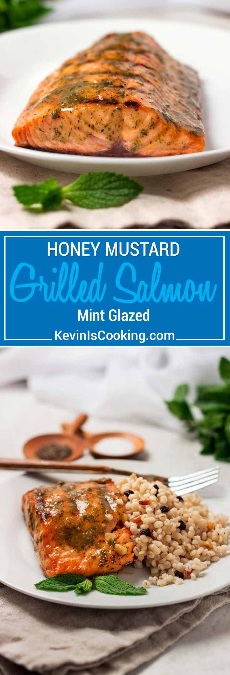 For this Honey Mustard Grilled Salmon, brush on this simple yet flavorful sauce of honey, mustard, mint and horseradish for a little kick after grilling.