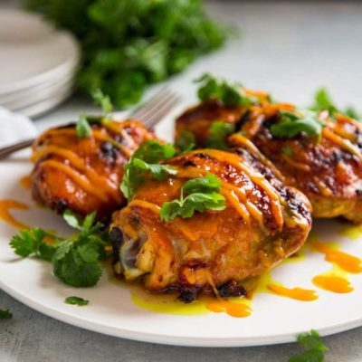 Mango Sriracha Roasted Chicken Thighs