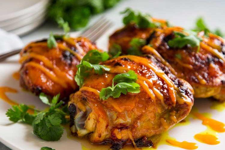 Mango Sriracha Roasted Chicken Thighs