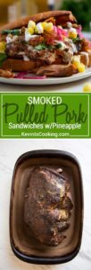 This Smoked Pulled Pork Sandwich is dry rubbed, smoked until tender then shredded and mixed with pineapple juice, Mexican oregano and guajillo peppers. So flavorful!
