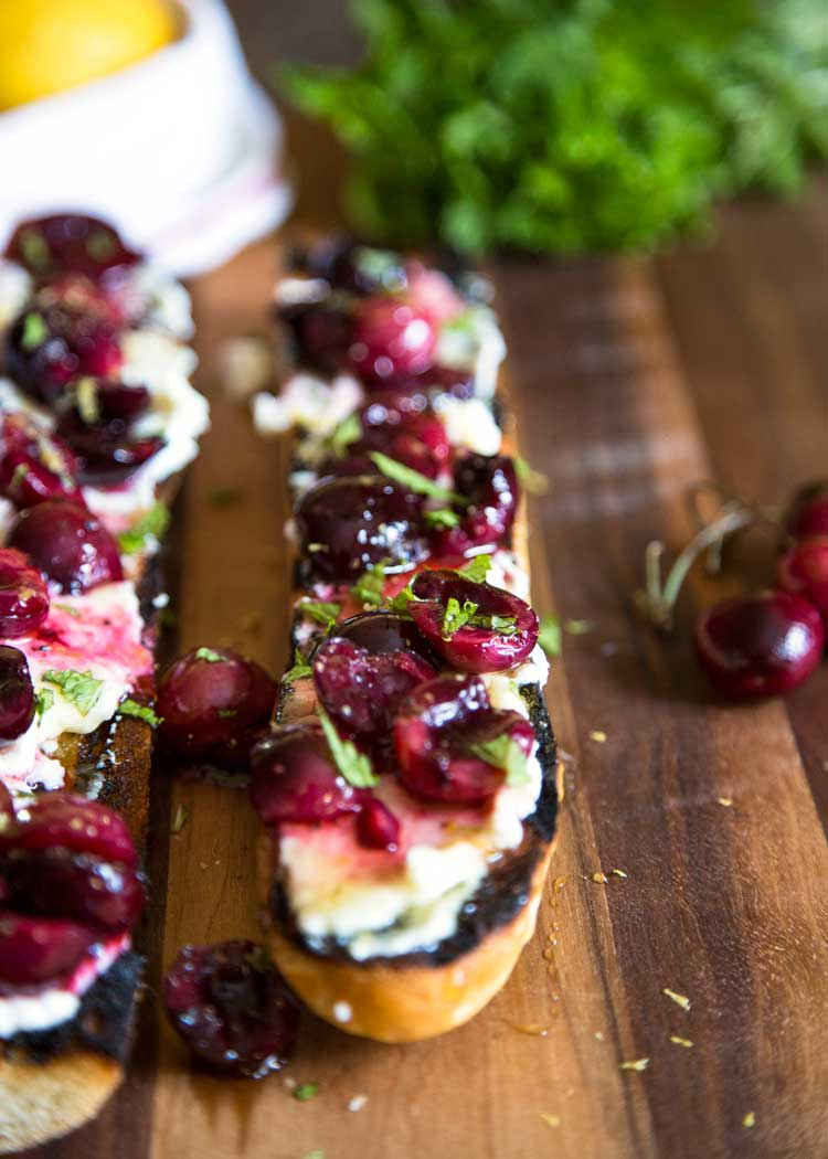 With this Summer's amazing cherry bounty I figured a twist on the traditional bruschetta was in order. This Cherry Ricotta Bruschetta does not disappoint and is so easy for your next BBQ, picnic or party appetizer! keviniscooking.com