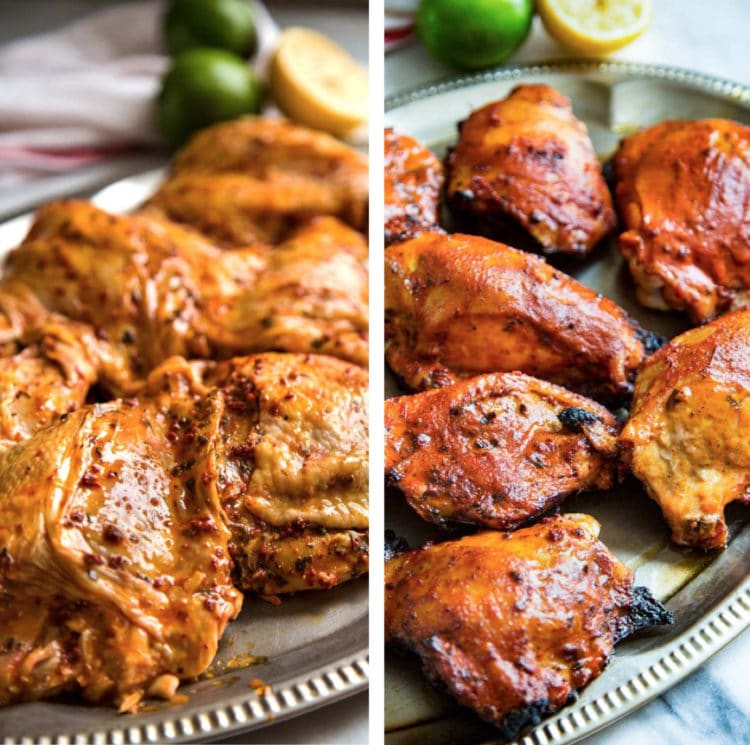 side by side photo collage of Mexican grilled chicken