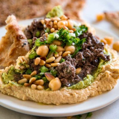 Hummus with Lamb and Lemon Herb Sauce