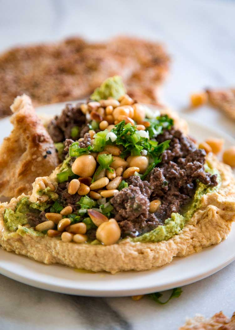 Hummus with Lamb and Lemon Herb Sauce - keviniscooking.com