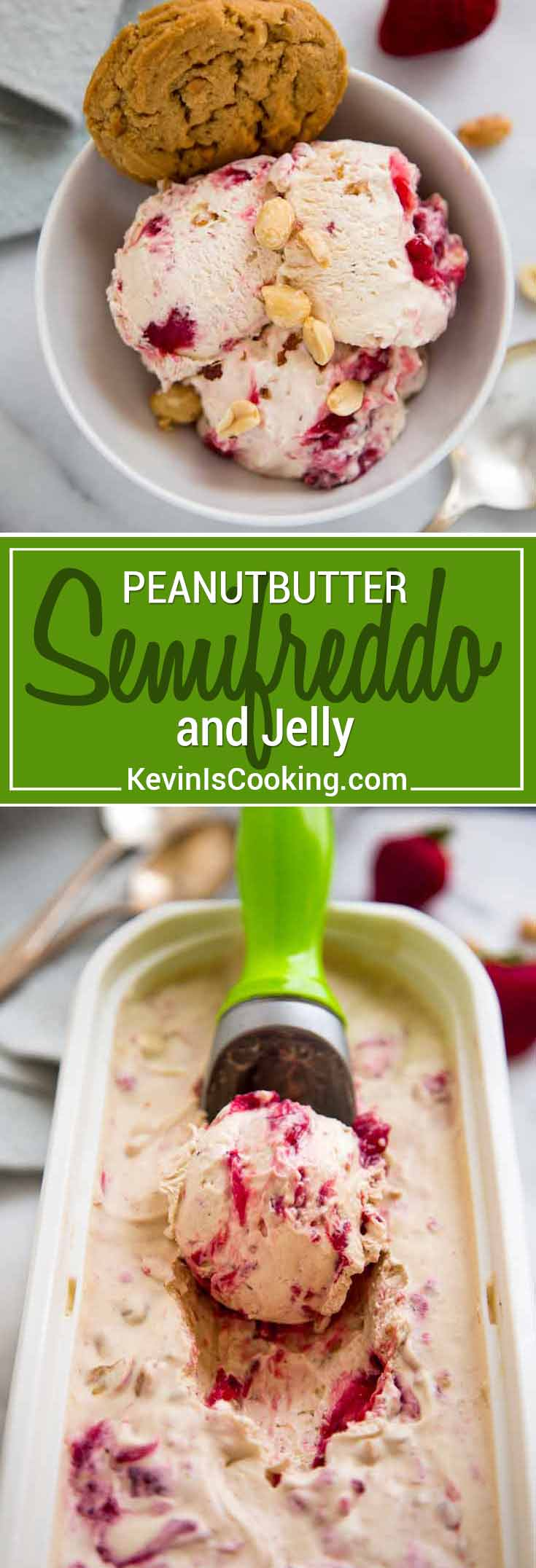 Taking flavors from the American classic sandwich, this Peanut Butter and Jelly Semifreddo is more like a frozen mousse than ice cream, perfect anytime! The kids love it!