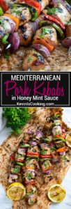 These Pork Kebabs have cubed, marinated center cut pork chop meat, cut vegetables and are grilled then topped with a lemon, honey and mint sauce drizzle. Easy AND amazing!