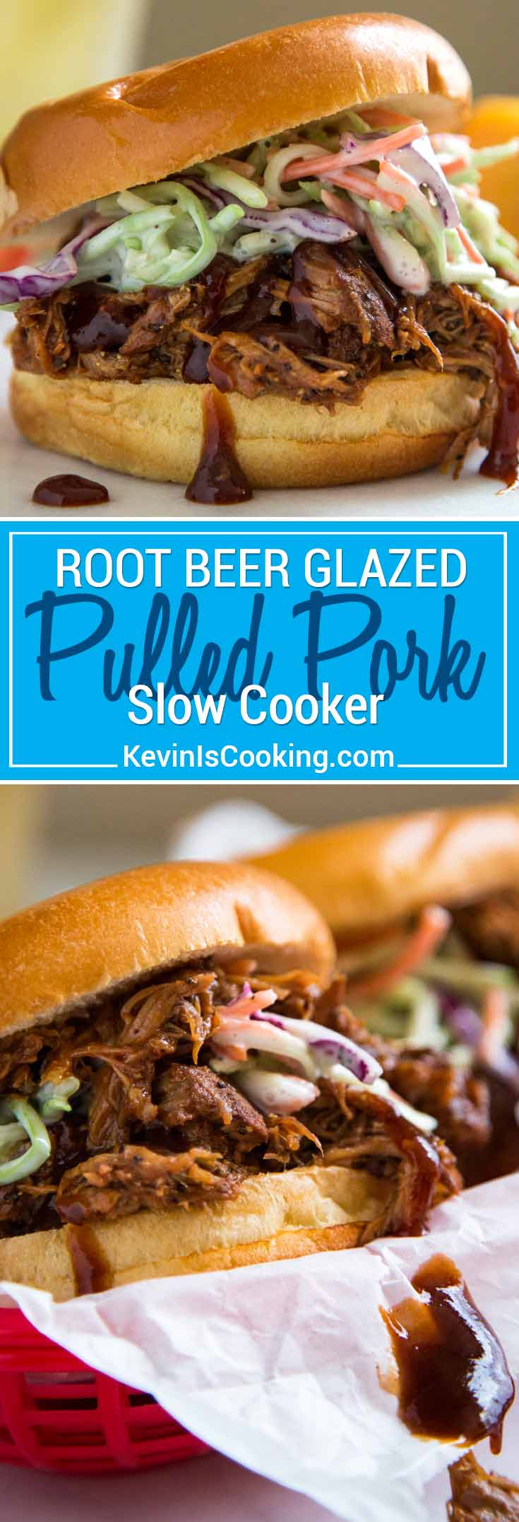 This Root Beer Glazed Slow Cooker Pulled Pork is juicy, tender and sticky sweet with a bite, and gets a dose of reduced root beer for an extra flavor punch!
