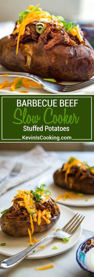 These Slow Cooker BBQ Beef Stuffed Potatoes are a perfect one pot meal made in the slow cooker. A wet rubbed chuck roast with BBQ sauce and the potatoes!