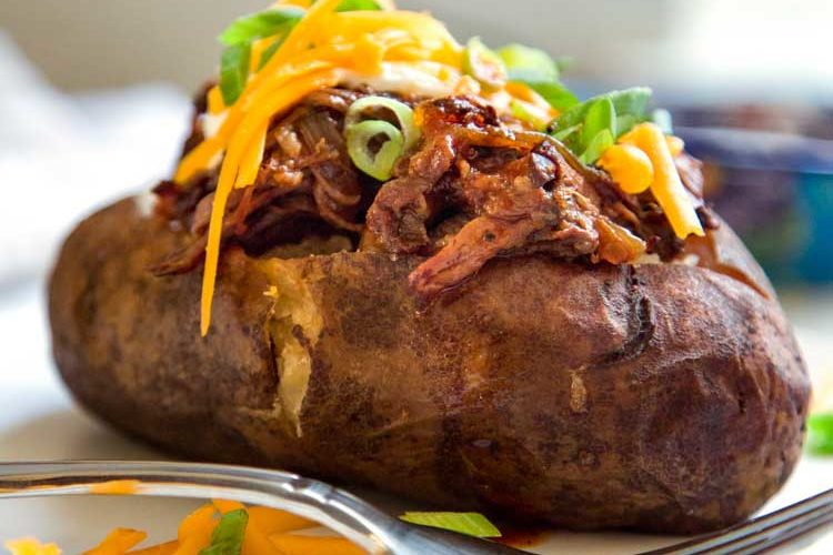 Slow Cooker BBQ Beef Stuffed Potatoes
