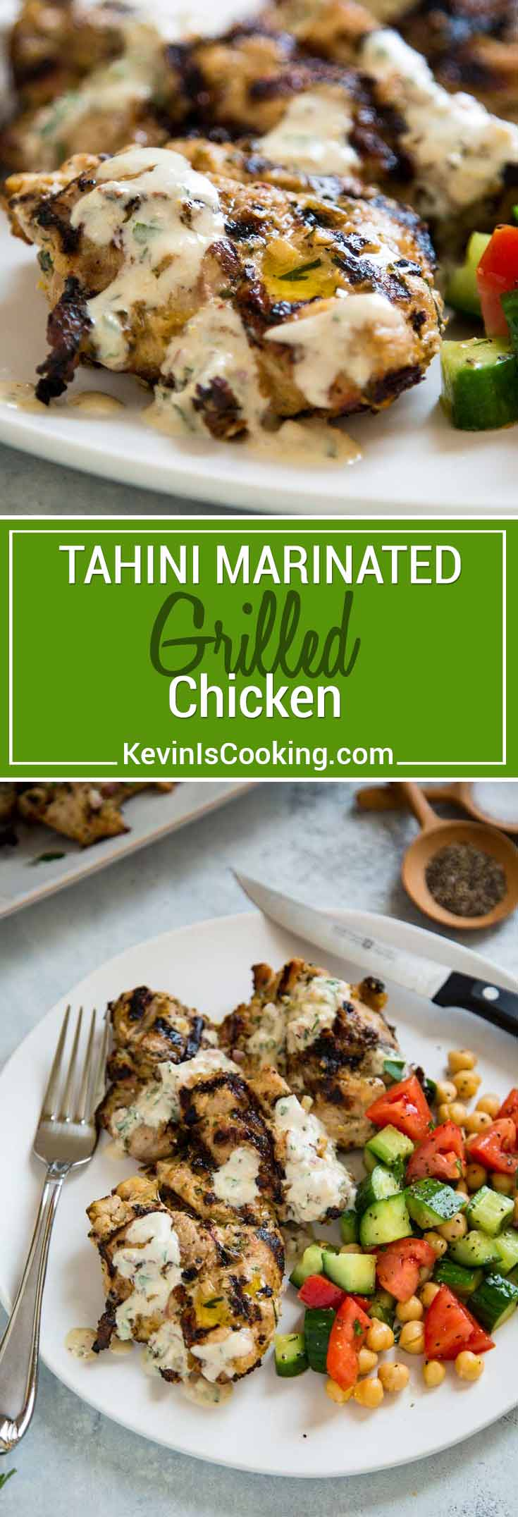 Tahini Marinated Grilled Chicken is not over powering in sesame flavor, but the tahini adds an almost tenderizing quality to the chicken and amazing flavor!