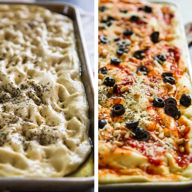 before and after baking of focaccia bread