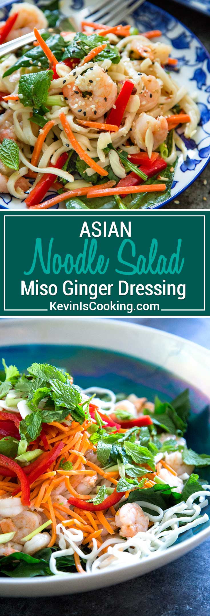 This Asian Noodle Salad has an amazing miso ginger dressing and the pan seared shrimp, crisp vegetables and herbs make this just cooked noodle salad a meal!