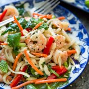This Asian Noodle Salad has an amazing miso ginger dressing and the pan seared shrimp, crisp vegetables and herbs make this just cooked noodle salad a meal. keviniscooking.com