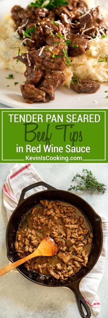 Tender Beef Tips in Red Wine Sauce is a wonderful French inspired comfort food meal. Sirloin beef tips are pan seared with butter, while shallots, wine and herbs help make a quick pan sauce!
