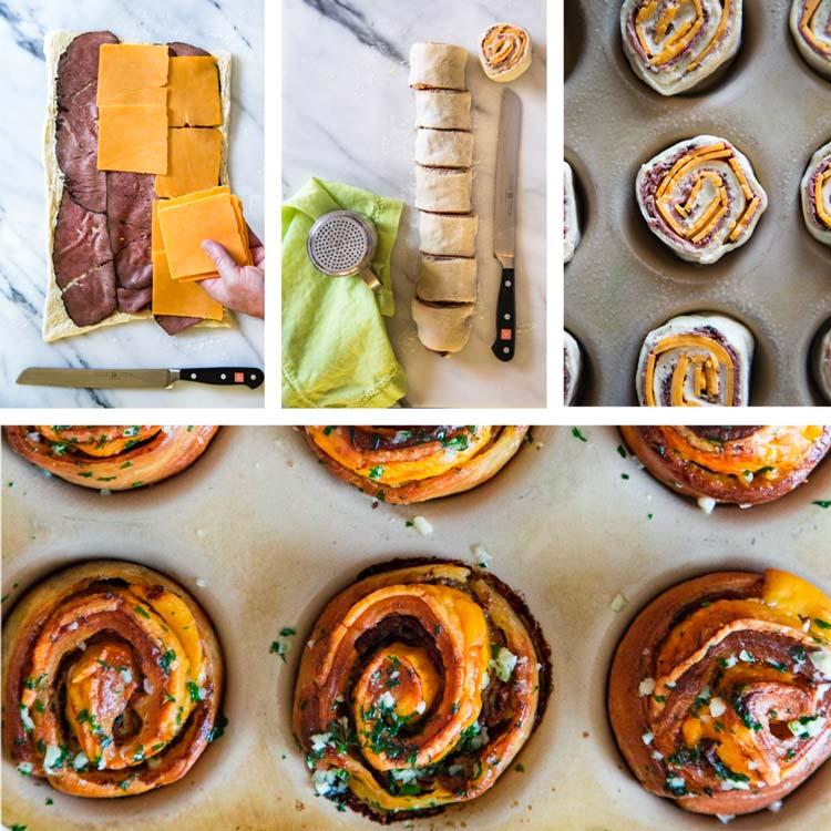 step by step photos of My baked Roast Beef Cheddar Muffins