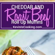My baked Roast Beef Cheddar Muffins start with pizza dough smothered in dijon horseradish cream, layered with slices of tender roast beef and cheddar cheese. Perfect snack food!