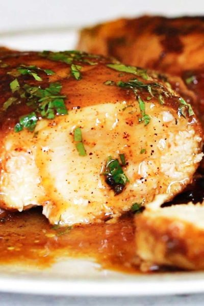 marinated chicken breast covered with sweet and spicy sauce
