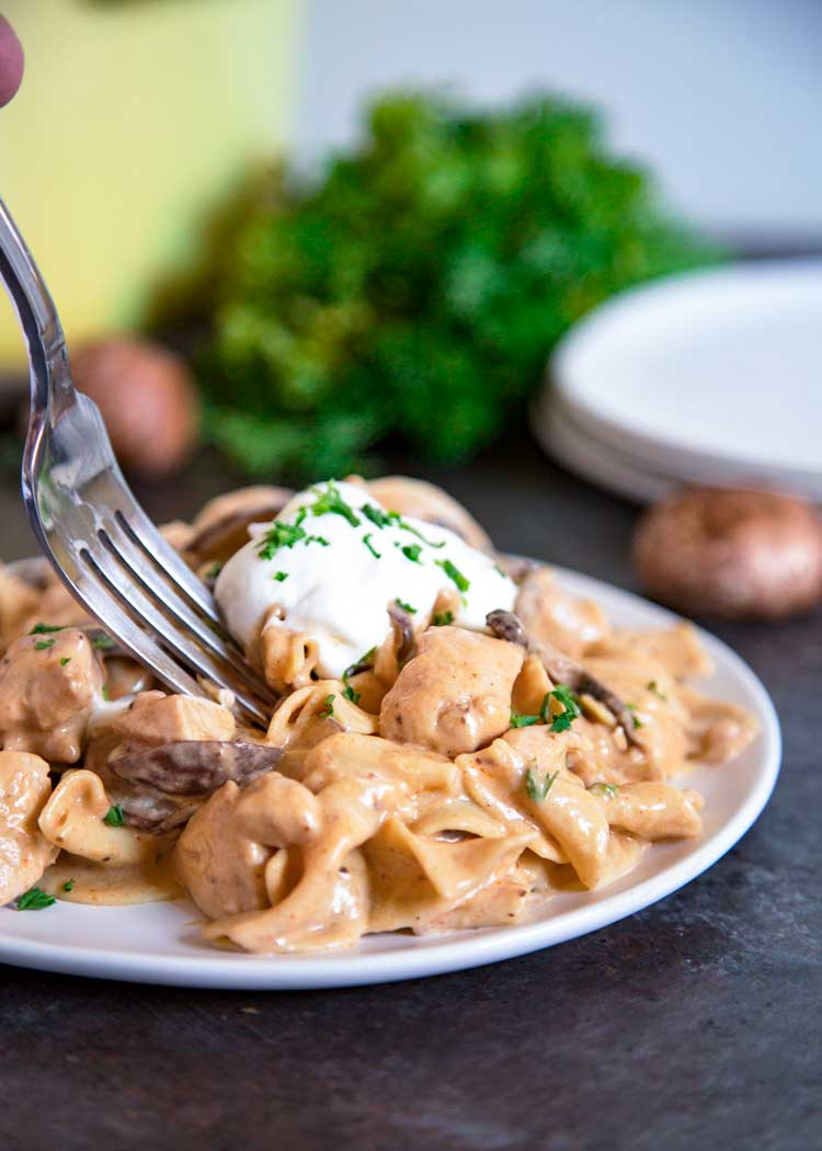 Creamy Chicken Stroganoff on plate with fork