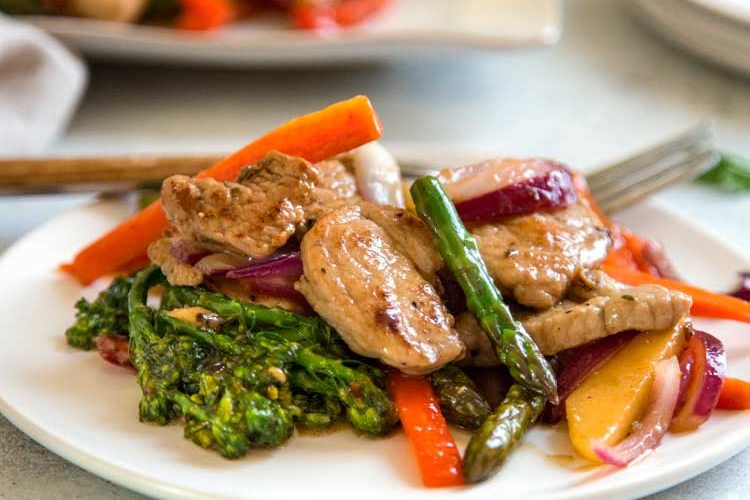 Pork Stir Fry with Maple Cider Glazed Vegetables