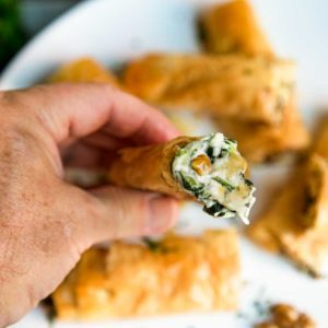 Chicken, walnuts and a cheesy spinach filling all wrapped in layers of flaky fillo dough pastry make these Chicken Spanakopita Rolls with Walnuts so irresistible. keviniscooking.com