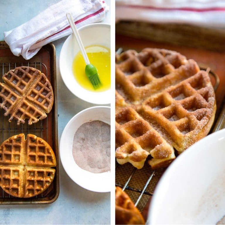 My Churro Waffles start with a fluffy, whipped batter to keep them light and after getting a cinnamon sugar dusting are topped with caramel pineapple bits. keviniscooking.com