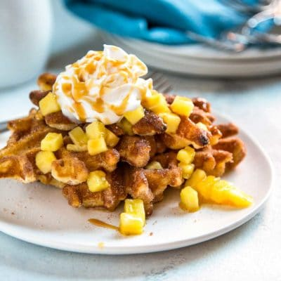Churro Waffles with Caramel Pineapple