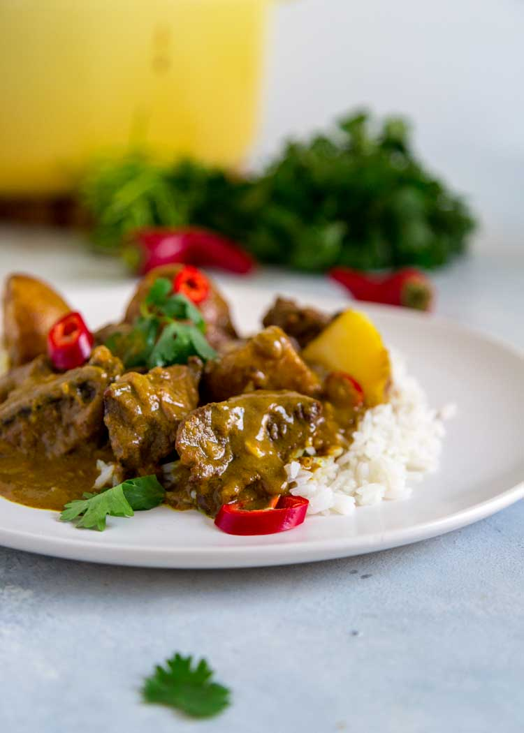 plate of Easy Coconut Beef Curry Stew