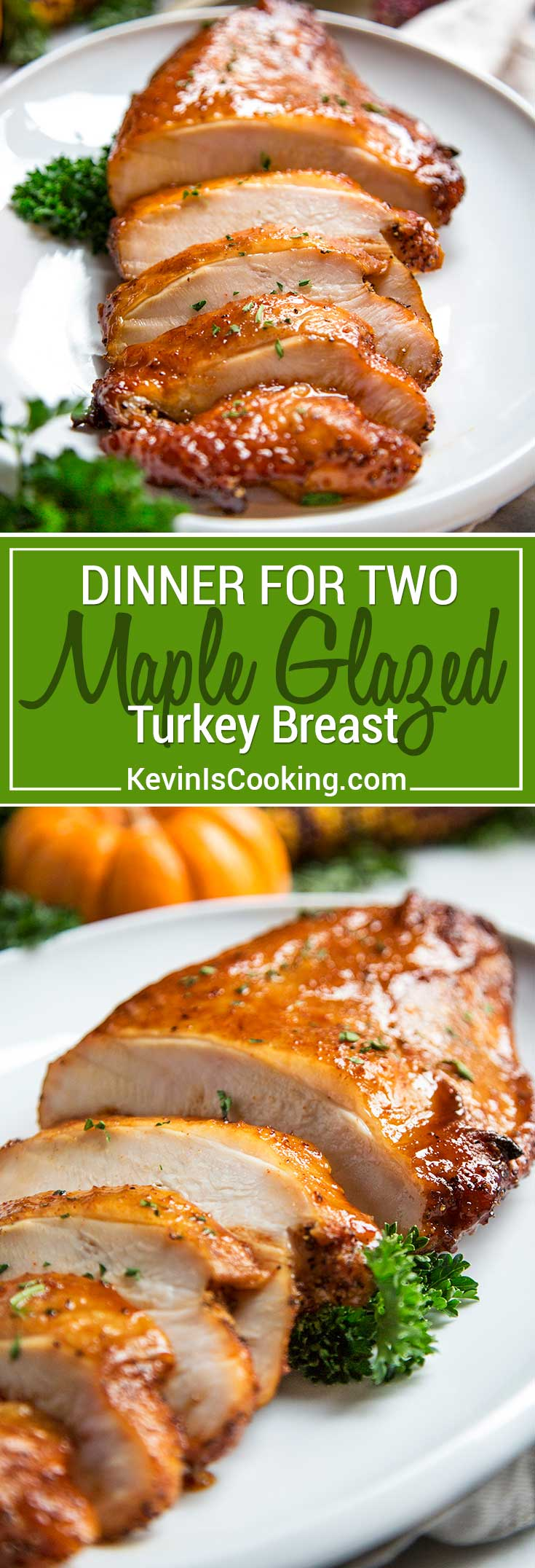 Dry brined for 12 hours with spices, roasted and basted with a maple, brown sugar, Sriracha  sauce, this Brown Sugar Maple Glazed Turkey breast is a tasty meal for two!