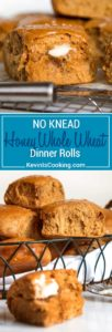 Light and airy No Knead Honey Whole Wheat Dinner Rolls. No mixer required and the honey wheat flavor is a nice change from the regular white bread roll!