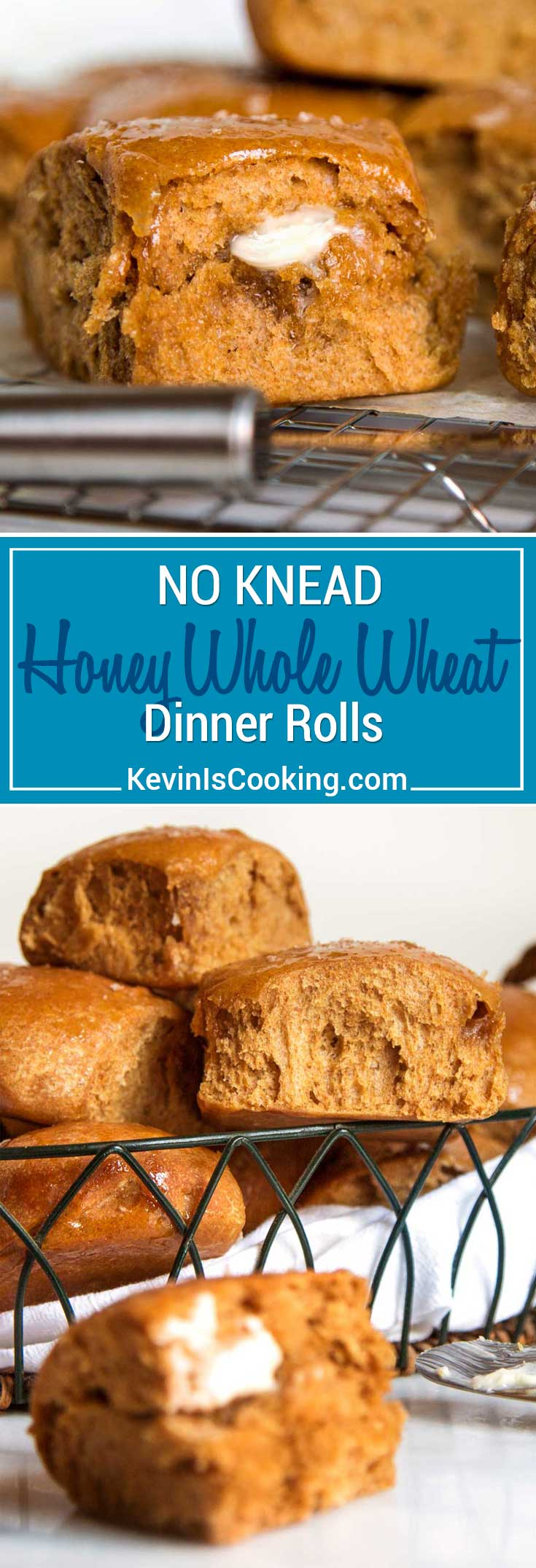 What I love about these light and airy No Knead Honey Whole Wheat Dinner Rolls is there's no mixer required and the honey and wheat flavor is a nice change from the regular white bread version. Grab a bowl and spoon and let's get to it, you have guests coming for dinner!