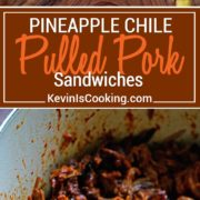 This slow simmered Pineapple Guajillo Chile Pulled Pork is stuffed in a ciabatta roll, layered on top of mashed black beans, a drizzle of Mexican crema, cilantro and diced pineapple.