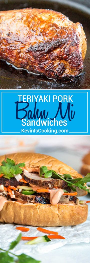 Teriyaki Pork Bahn Mi Sandwich has sliced, glazed pork tenderloin layered with pickled vegetables and herbs for a perfect lunch, party or Game Day favorite!