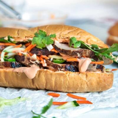 Teriyaki Pork Bahn Mi Sandwich