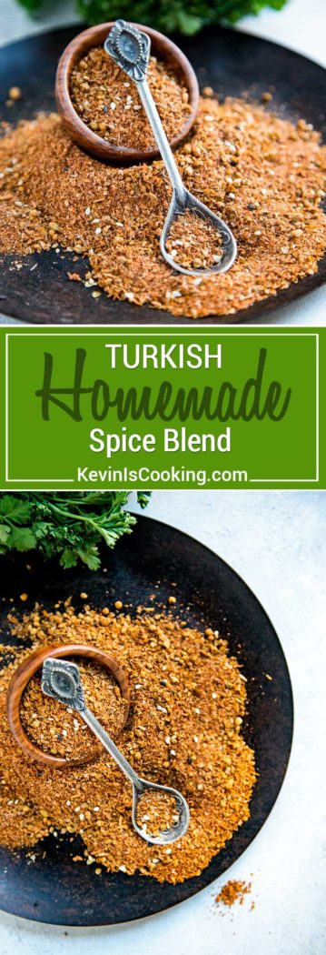 This Turkish Spice Blend isa warm and earthy seasoning rich with cumin, pepper, paprika and Middle Eastern spices and sesame seeds. Perfect on roasted meats, as a dry rub and seasoning.