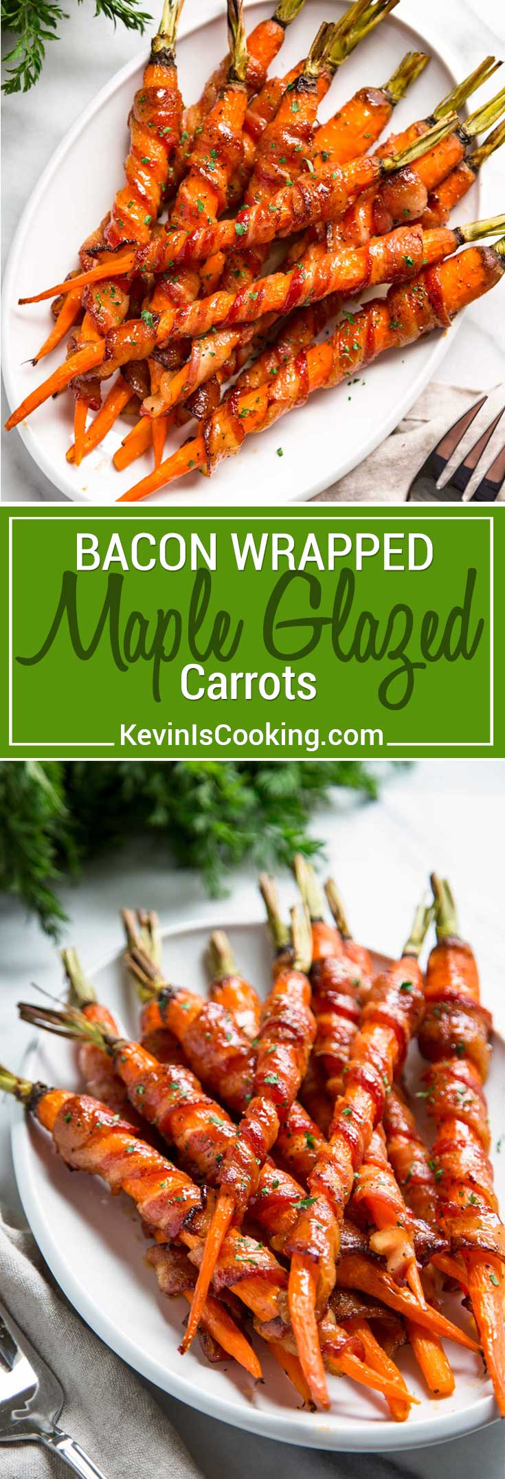 These Bacon Wrapped Carrots get sprinkled with black pepper and roasted, then basted with a maple Sriracha sauce until crispy. So easy and good!