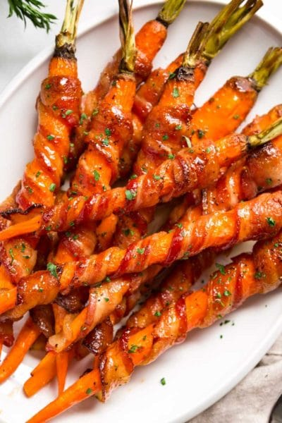 Sriracha Maple Bacon Wrapped Carrots
