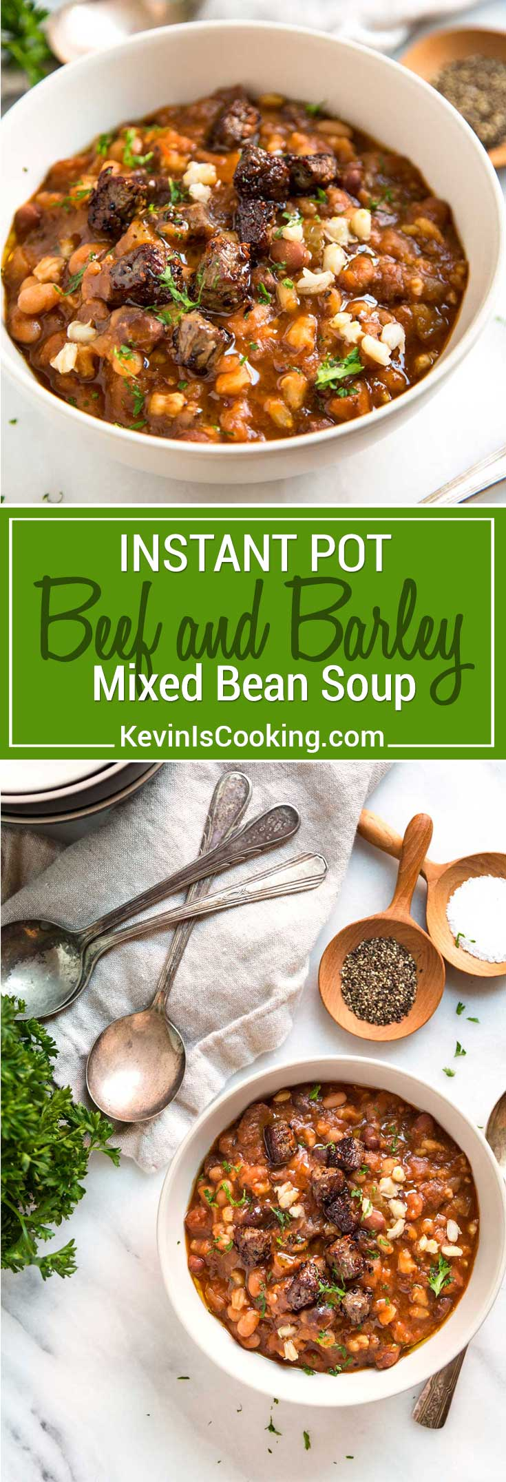 This Beef and Barley Soup has Montreal seasoned beef seared and caramelized before added to a Dutch oven or Instant pot with mixed beans and barley. So good!