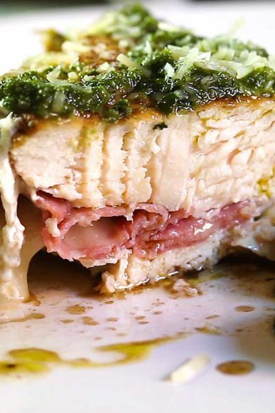 With a few on hand ingredients like pesto, mozzarella cheese and deli meat, this Cheesy Prosciutto Stuffed Chicken with Pesto is on the table in 30 minutes! keviniscooking.com